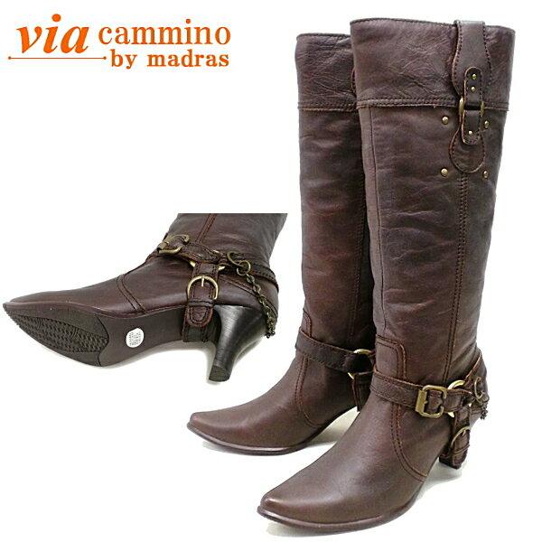 【交換送料無料!】 ヴィア カミーノ ブーツ via cammino VCL9724 チェーン&ベルト付き ロングブーツ レディース ●【**NL】