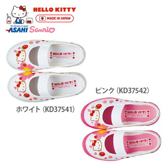 House shoes child shoes made in japan asahi white pink made in slippers character Hello Kitty Hello Kitty S02 Kitty ballet shoes Sanrio character kids junior school shoes Asahi shoes Japan ○