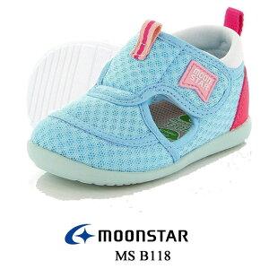 ムーンスター MOON STAR B118 サックス ベビー マタニティー ファーストシューズ サマーシューズ ベルクロマジック 子供靴 スニーカー サンダル ギフト プレゼント ブランド MS B118