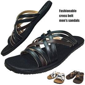 サンダル メンズ おしゃれ 黒 ブラック シンプル カジュアル クロスサンダル クッション性 履きやすい 在庫わずか 12-4 送料無料 一部地域除く あす楽 靴靴パワー