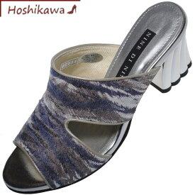 【靴のHOSHIKAWA】 『NINE DI NINE 2325』ナインディナイン ミュール21.5cm〜24.5cm EEEゼブラ レディースヒール サンダル国産 本革
