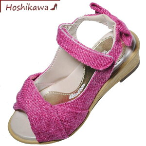 【靴のHOSHIKAWA】 『Sugar j517』ムーンスター シュガー17cm〜23cm キッズサンダル ピンクウェッジソール バンド女の子 前開き