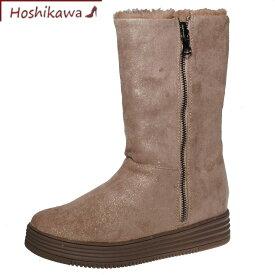 【靴のHOSHIKAWA】 『Metal Rouge 7857』メタルルージュ オークS M L LL 幅広ブーツ レディースショート ジッパー合皮 フラット底内側ボア 秋冬