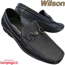 スリッポン Wilson 8802 黒 メンズシューズ カジュアルシューズ デッキシューズ ドライビングシューズ 紳士靴 スリッポン ビットローファー ウィルソン ブラック 紐なし靴 モカシン