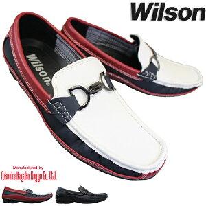 スリップオン Wilson 8802 メンズシューズ カジュアルシューズ デッキシューズ ドライビングシューズ 紳士靴 スリッポン ビットローファー ウィルソン ブラック 紐なし靴 モカシン