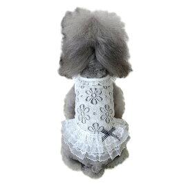 ペット 犬 服 ワンピース ドレス 可愛い ノースリーブ レース ワンピース ホワイト リボン付