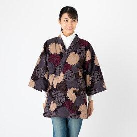 女性用手詰め中綿前合わせ四つ紐はんてん 和柄プリント<日本製久留米産>