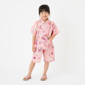 日本製【90〜130サイズ】子ども用甚平 花柄リップル生地<久留米産>女の子用 夕涼み ルームウエア ホームウエア
