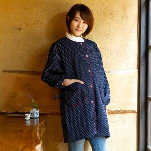 女性用前ボタンスモック ドビー織<日本製久留米産エプロン・割烹着>