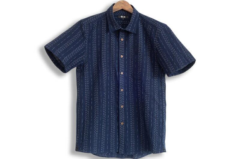久留米ちぢみ織半袖シャツ 日本製 男性用 M L LLサイズ 父の日 敬老の日 プレゼント