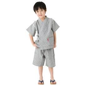日本製 久留米織【90〜130サイズ】子供用甚平 ちぢみ織ヒッコリー柄