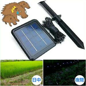 イノシシ対策装置【LED通せんぼBIG】ソーラー充電式 青色LEDライト 猪対策