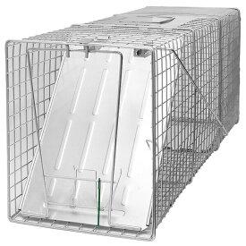 【踏板式 捕獲器 改良型(シルバー) W26×H31×D81cm】 アライグマ 猫 ハクビシン 保護 捕獲機