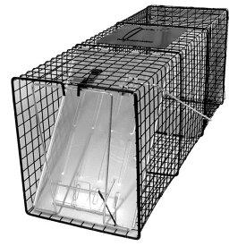 【踏板式 捕獲器 改良型(ブラック) W26×H31×D81cm】 アライグマ ハクビシン 野良猫 保護