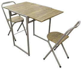 収納式テーブル+折りたたみパイプ椅子2脚(送料込み)