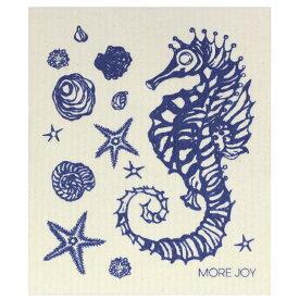 【ネコポス対応】【MORE JOY】モアジョイ スポンジワイプ シーホース(タツノオトシゴ) ブルー 【1枚】No.6621