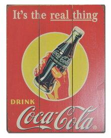 壁掛け木製アンティーク風 POP看板 COCA COLA 瓶 30cmx40cm