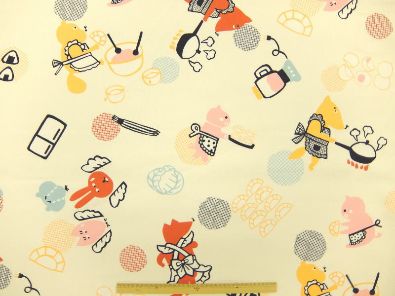 ※現品限りルシアン 生地 布 atelier mi アトリエ「み」餃子パーティ 40397−10 和柄 プリント生地 きつね うさぎ ぶた たぬき 商用利用可能