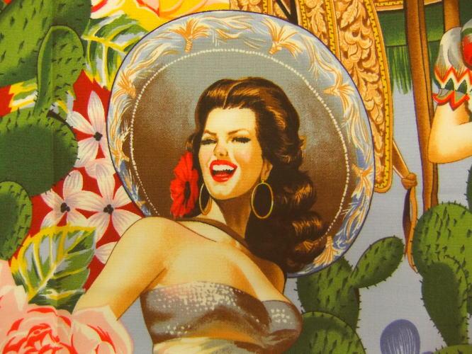 生地 布 輸入 USAコットン Las Señoritas セニョリータ 6542A メキシコ女性 THE ALEXANDER HENRY FABRICS アレキサンダーヘンリー ファブリックス マリアッチ ソンブレロ 商用利用可能