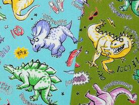 メーカー完売入園入学 オックス生地 布 ダイナソー AP91802-5 恐竜 フクイラプトル ティラノサウルス プテラノドン トリケラトプス 商用利用可能