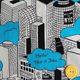 オックス生地 布 ポップタウン AP92909−Aニューヨークタウン ビル 建物 アメコミタッチ 商用利用可能