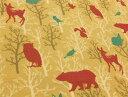 入園入学 プリント生地 布 どうぶつ柄 森の動物たち 61−1220−2A 北欧風 動物柄 クマ シカ ウサギ リス フクロウ トリ レッスンバッグ 体操着入れ 巾着袋に 商用利用可能
