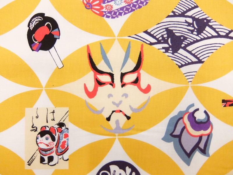パネル柄 生地 布 縁起づくし 和柄 玩具 小物 DACO164A 約110×60cm 大入 歌舞伎 隈取 コマ ダルマ落とし 絵馬 申 凧 折り紙 やっこさん 家紋 でんでん太鼓 福笑い 千歳飴 JAPAN 日本