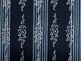 【次回使えるクーポン進呈】現品限り 本藍染め 生地 布 藍染抜染 吉兆藍木綿 ボーダー柄 唐草8998−SA201 商用利用可能