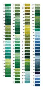 オリムパスししゅう糸 25番刺しゅう糸単色 緑・青系色200〜257 刺繍糸 ししゅう糸