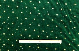 在庫処分 クリスマス 星柄 別珍 生地/布VT3000 グリーン 巾:約90cm