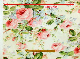 在庫限り 花柄 ブロード 生地 布 BCR500 ピンクローズ バラ 大柄 商用利用可能