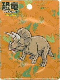 DSW005キャラクターワッペン アップリケ【恐竜ワッペン Dinosaur】トリケラトプスダイカットワッペン