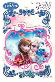 D01Y0091 キャラクターワッペン アップリケ アナと雪の女王 D01Y0091 アナとエルサ 四角 アイロンシール両用ワッペン デコシール