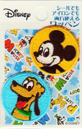 キャラクターワッペン アップリケ【ししゅうデコシール】アイロン・シール両用ディズニー ミッキーマウス ミッキー&プルート 小D01Y9155