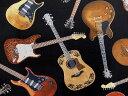 C1611 輸入 USAコットン 生地 布 タイムレストレジャーズ ギターズ C1611BLACK アコースティックギター エレキギター …