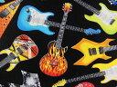 輸入 USAコットン 生地 布 タイムレストレジャーズ トスド エレクトリックギターズ C4824BLACK エレキギター Timeless Treasures Electric Guitars 商用