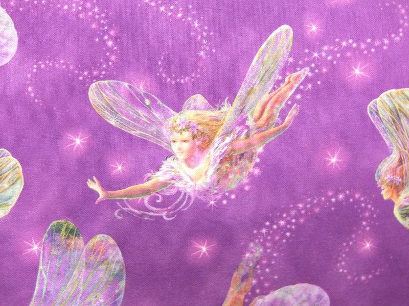 輸入 USAコットン 入園入学 生地 布 FAIRIES フェアリーズ 妖精 24276Vパープル DREAMLAND ドリームランド Quilting Treasures キルティングトレジャーズ 商用利用可能