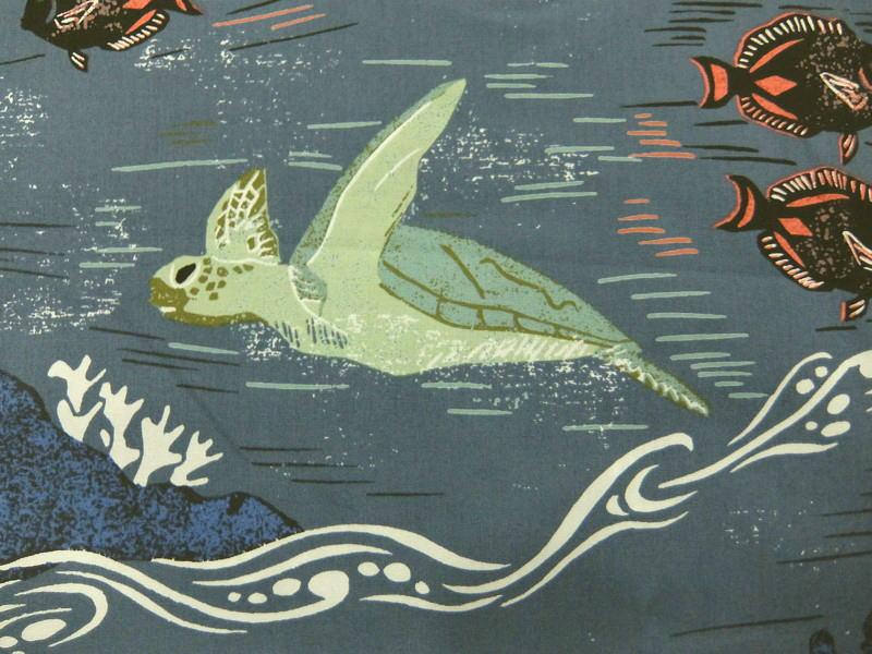 輸入 USAコットン 生地 布 ヴィンテージ風 ハワイアン柄 カハラ ホヌ柄 ウミガメ 101 ブルーグレー KAHALA Honu ハワイ アロハシャツブランド