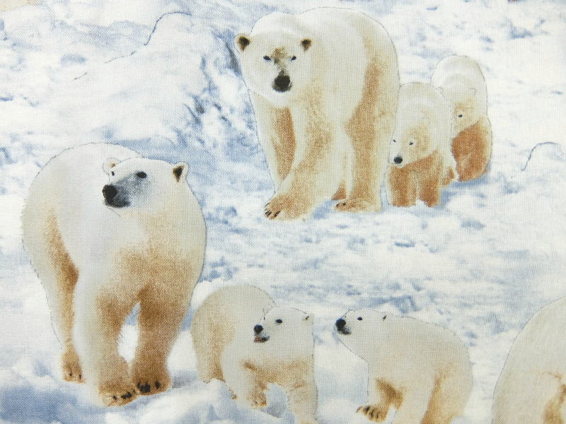 エントリーでポイント10倍 輸入 USAコットン 生地 布 ポーラーベアーズ 489ICE 入園入学 エリザベススタジオ Polar Bears 商用利用可能