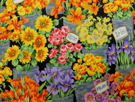 輸入 USAコットン 生地 布 フレッシュマーケットフラワーズ 7131M 花柄 アンドーバーファブリックス 商用利用可能