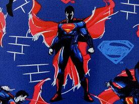 在庫処分 キャラクター生地 布 正規ライセンス品 輸入 USAコットン バットマン VS スーパーマン ジャスティスの誕生 23420104−2 スーパーマン ネイビー 商用利用不可