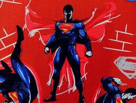 在庫処分 キャラクター生地 布 正規ライセンス品 2017年 輸入 USAコットン バットマン VS スーパーマン ジャスティスの誕生 23420104−3 スーパーマン ダークレッド 商用利用不可
