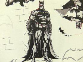 在庫処分 キャラクター生地 布 正規ライセンス品 USAコットン バットマン VS スーパーマン ジャスティスの誕生 23420103−2 バットマン ホワイト 商用利用不可