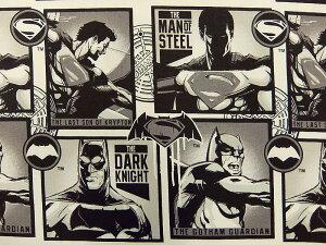 在庫処分 キャラクター生地 布 正規ライセンス品 2017年 輸入 USAコットン バットマン VS スーパーマン ジャスティスの誕生 23420101−1 ブロック柄 商用利用不可