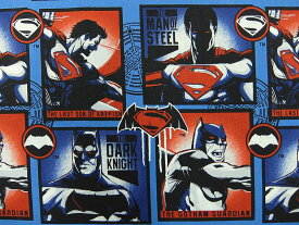 在庫処分 キャラクター生地 布 正規ライセンス品 2017年 輸入 USAコットン バットマン VS スーパーマン ジャスティスの誕生 23420101−2 ブロック柄 商用利用不可