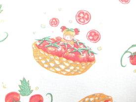 コットンリネン混 キャンバス生地 布 ピクピグ PixPig KTS6169Aオフホワイト トマトのねがいごと かわいい野菜の妖精 by Risa Samejima コットンこばやし 商用利用可能