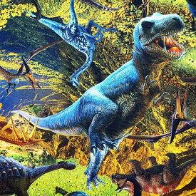 入園入学 オックス生地 布 ダイナソーワールド HSK416A ティラノサウルス トリケラトプス インクジェットプリント 恐竜 商用利用可能