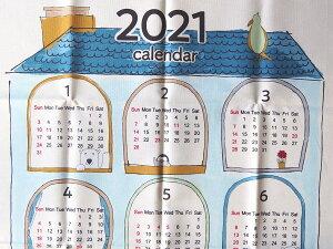 値下げ 2021年 布カレンダー ポーラーベアとペンギンのお家 KTS6713Bサックス タペストリー 生地 コットンこばやし 商用利用可能