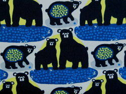 【エントリーでポイント10倍】FINF-04BL北欧オックスプリント生地布オッツォFINF-04BLフィンレイソン動物柄クマ商用利用不可