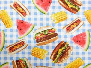 輸入 USAコットン 生地 布 フーディー ピクニックフード C5639 ハンバーガー ホットドッグ タイムレストレジャーズ 商用利用可能